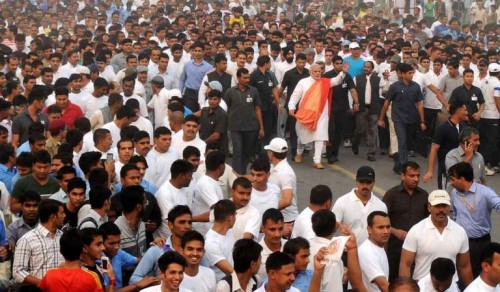 The Prime Minister, Shri Narendra Modi at Run for Unity, at the Rajpath for Rashtriya Ekta Diwas Celebrations, in New Delhi on October 31, 2014.