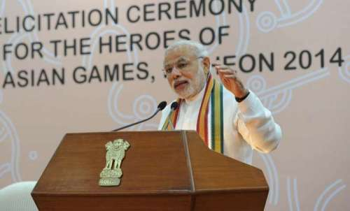 The Prime Minister, Shri Narendra Modi delivering his address at the Felicitation Ceremony of medal winners of the 17th Asian Games, Incheon 2014, in New Delhi