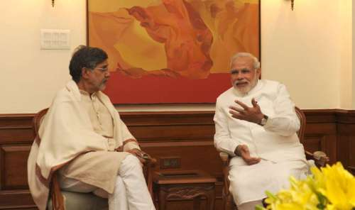 The Nobel Peace Prize awardee from India, Shri Kailash Satyarthi calling on the Prime Minister, Shri Narendra Modi, in New Delhi on October 11, 2014.