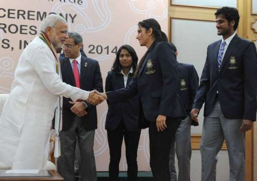 The Prime Minister, Shri Narendra Modi meeting the medal winners of the 17th Asian Games, Incheon 2014, in New Delhi on October 14, 2014.