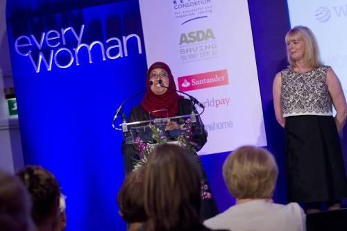 Noor Ali after receiving the Everywoman Retail Ambassador Award in London