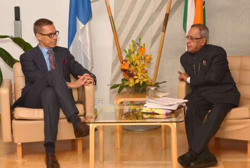 The Prime Minister of Finland, Mr. Alexander Stubb meeting the President, Shri Pranab Mukherjee, at Helsinki, in Finland on October 15, 2014.
