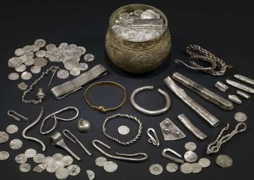 Undated handout picture shows some of hundreds of items from Viking hoard of jewels unearthed in England