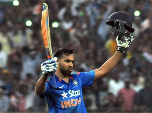 Kolkata: Indian batsman Rohit Sharma celebrates his double century during the 4th ODI between India and Sri Lanka at the Eden Gardens in Kolkata, on Nov 13, 2014. (Photo: Kuntal Chakrabarty/IANS)