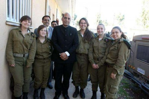 Israel: Union Home Minister, Rajnath Singh with female soldiers at an Israeli border outpost on Nov 7, 2014.