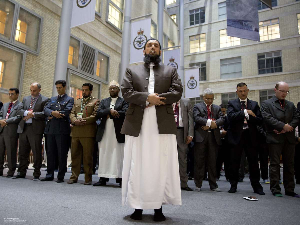 Imam Asim Hafiz, OBE, the Islamic advisor to the Armed Forces leads the Prayers in MOD