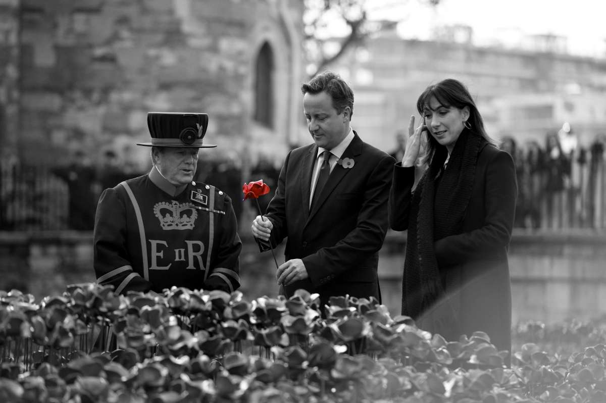 Prime Minister David Cameron and his Wife Sam visit the Poppy Commemorative display at the Tower of London.
