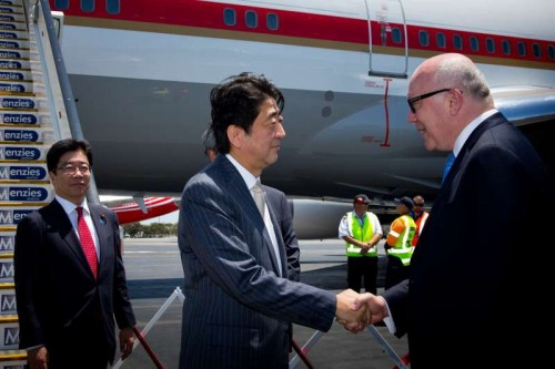Japanese Prime Minister Shinzo Abe  arrives at Brisbane Airport to attend the G20 Summit in Brisband, Australia, Nov. 14, 2014.