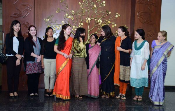 New Delhi: External Affairs Minister Sushma Swaraj meets a group of foreign students from 15 different nations studying in India on ICCR scholarship in New Delhi on Nov 10, 2014. (Photo: IANS)