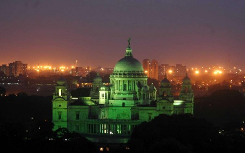 A view of Victoria Memorial lit-up in green light