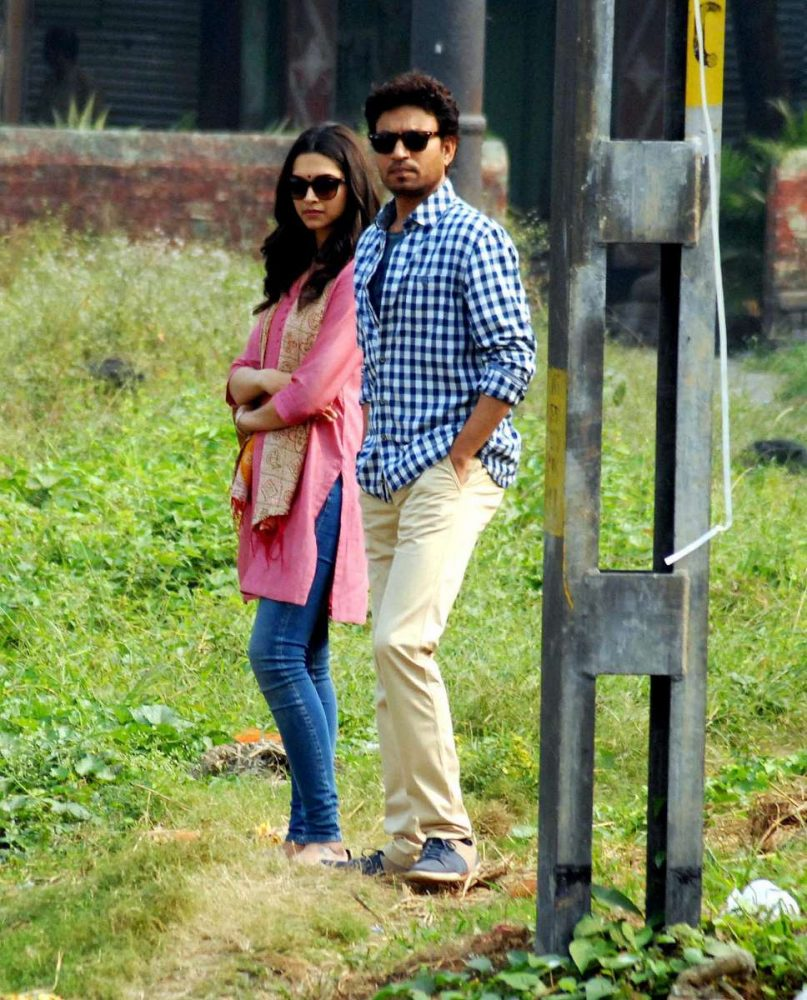 Actors Deepika Padukone and Irrfan Khan shoots for their upcoming film `Piku` at Bag Bazar in Kolkata