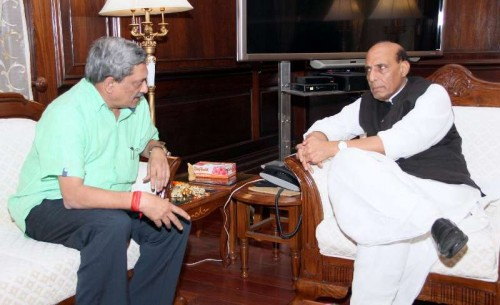 Union Minister for Defence, Manohar Parrikar calls on the Union Home Minister, Rajnath Singh, in New Delhi . FILE PHOTO