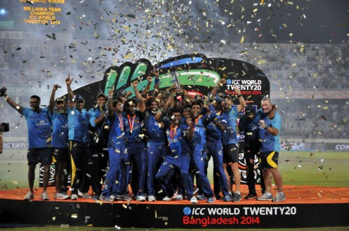 Players of Sri Lanka celebrate with the trophy after winning the ICC Twenty20 World Cup cricket title after beating India at the Sher-E-Bangla National Cricket Stadium in Dhaka, April 6, 2014. FILE PHOTO