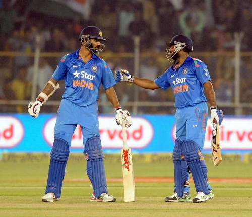 Ahmedabad: ​Indian batsmen€‹ Ambati Rayudu and Shikhar Dhawan during second ODI match between India and Sri Lanka at Sardar Patel Cricket Stadium in Ahmedabad, on Nov 5, 2014.