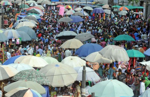 Ahmedabad: People throng a marketplace for Diwali shopping in Ahmedabad, on Oct.19, 2014. (Photo: IANS)