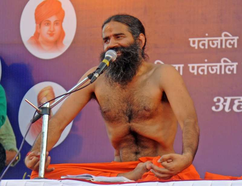 Yoga guru Ramdev during a yoga camp in Ahmedabad