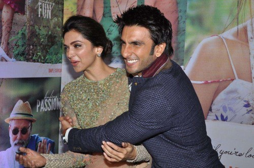 Actors Ranveer Singh and Deepika Padukone during the success party of film Finding Fanny in Mumbai on Sept 15, 2014. (Photo: IANS)