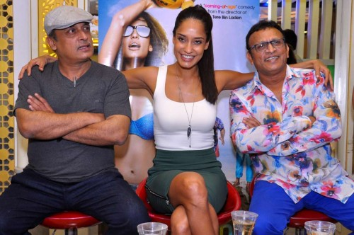 Actors Annu Kapoor, Lisa Haydon and Piyush Mishra during a press conference to promote their upcoming film `The Shaukeens` in Jaipur, on Oct.15, 2014. (Photo: Ravi Shankar Vyas/IANS)