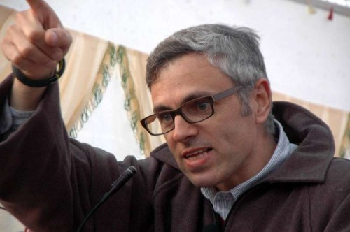 Jammu and Kashmir Chief Minister Omar Abdullah addresses a rally ahead of assembly polls in Kulgam district of the state on Nov 25, 2014.