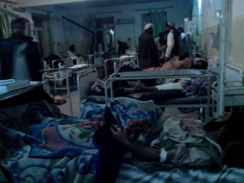 Wounded Afghans receive medical treatment at a hospital in Paktika, eastern Afghanistan, on Nov. 23, 2014. At least 57people were killed and 60 others wounded after a suicide bomb attack shocked a volleyball ground in Yahya Khel district of Paktika province, eastern Afghanistan on Sunday evening, officials confirmed.
