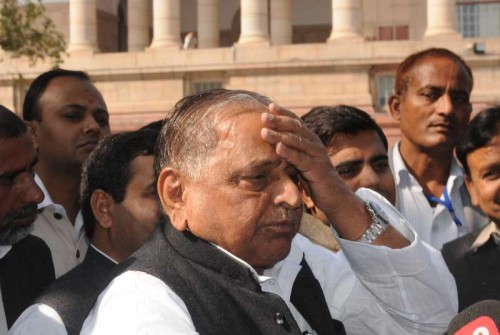 Samajwadi Party chief Mulayam Singh Yadav at the Parliament premises in New Delhi, on Nov 27, 2014.