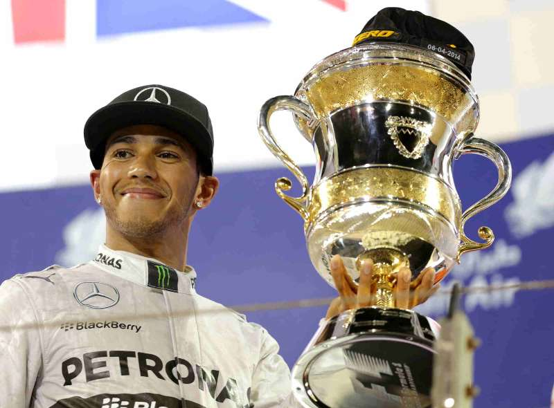 Mercedes' Lewis Hamilton celebrates after the final of Formula 1 Bahrain Grand Prix in Manama, Bahrain. FILE PHOTO