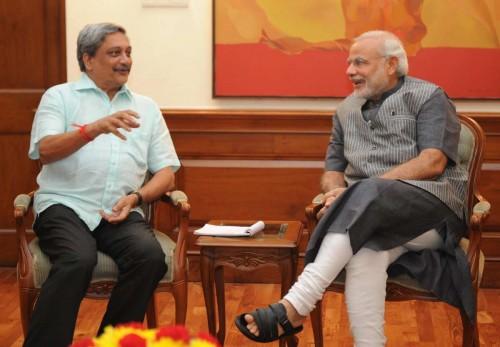 Goa Chief Minister Manohar Parrikar calls on Prime Minister Narendra Modi in New Delhi. FILE PHOTO