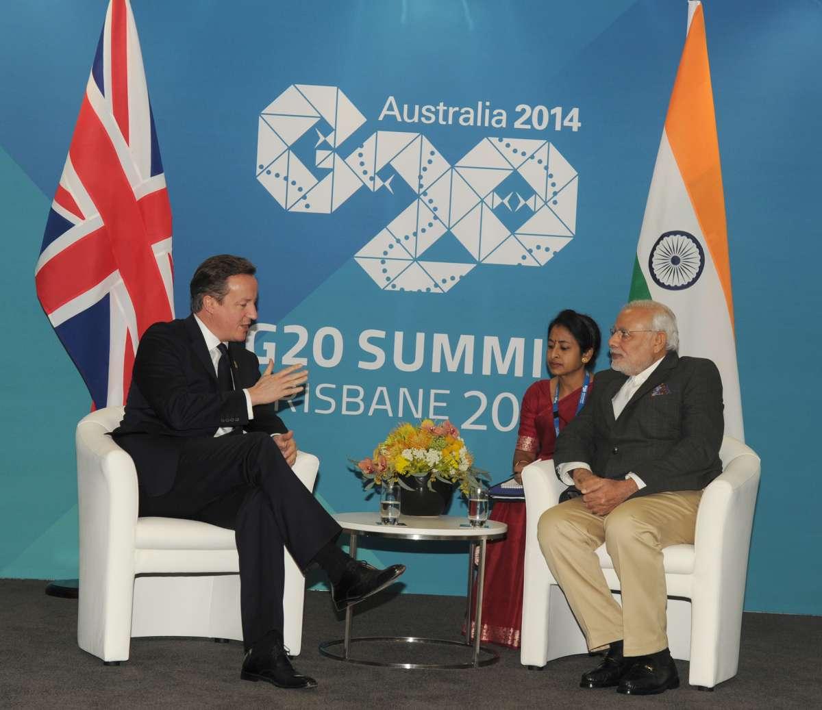 Prime Minister David Cameron with Modi in Brisbane, Australia
