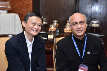 Jack Ma from Alibaba and Siddarth Birla of FICCI at the conference