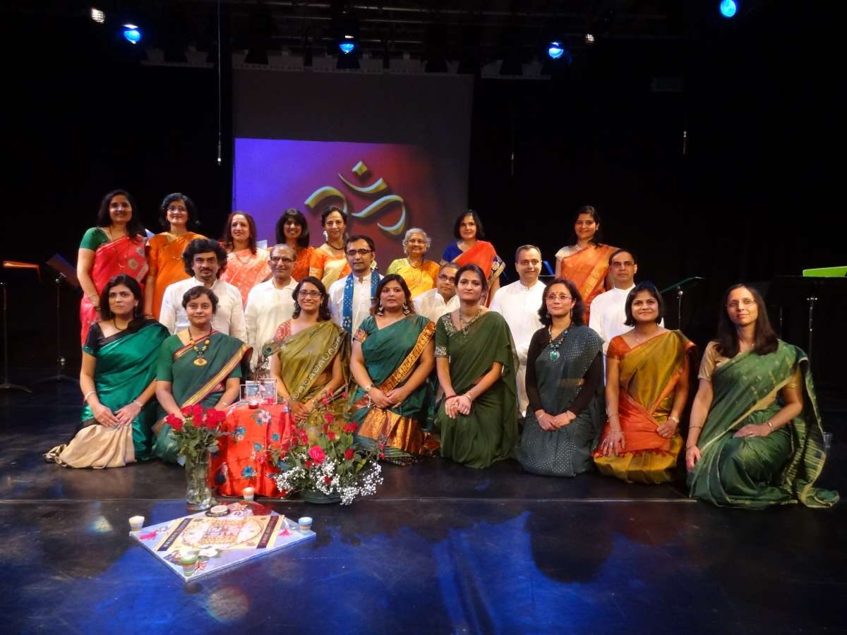 Manchester-based musician and composer, Rakesh Joshi (middle row: third from left) with Bharatiya Vrund Gaan choir    performing at the Lowry, Greater Manchester