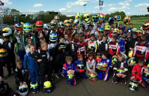 Formula Kart Stars pose for a picture