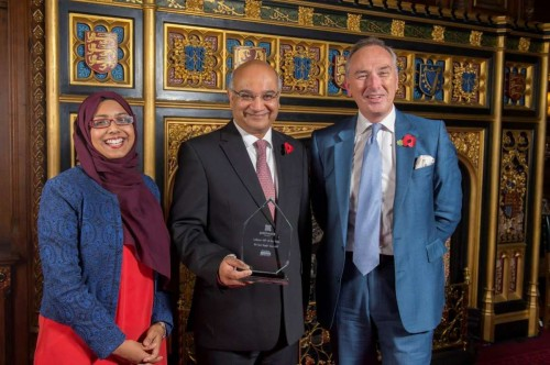 Mr Keith Vaz MP, Labour MP of the Year 2014, with Zahra Latif, Patchwork Foundation, Chief of Staff, and John O'Brien of Patchwork Foundation, Patron