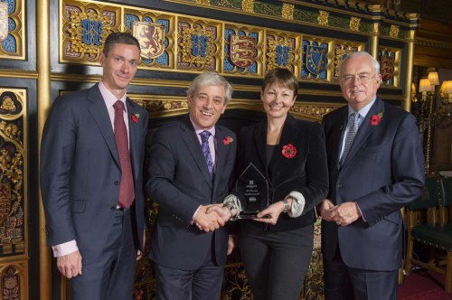 Caroline Lucas, MP for Brighton Pavilion with John Bercow MP,  Jonathan Holt (KPMG Partner, Sponsor),and Martyn Lewis CBE (Patchwork Foundation, Patron and Compere)