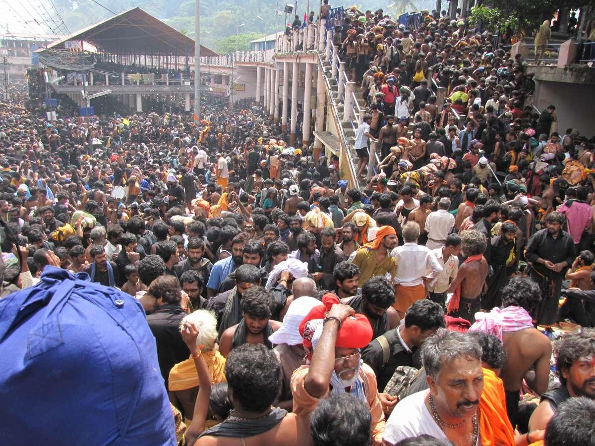 Pilgrims at the Sabarimala temple in Kerala