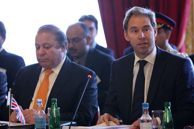 Foreign Office Minister Tobias Ellwood with Pakistan Prime Minister Nawaz Sharif at the UK-Pakistan Energy Dialogue in London