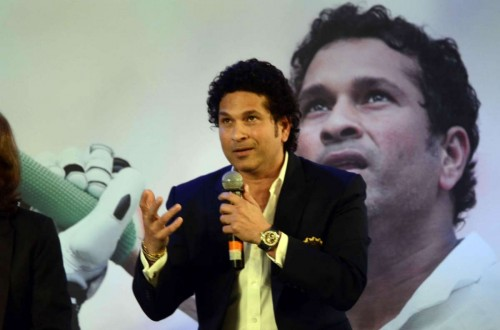 Cricket legend Sachin Tendulkar at the launch his autobiography `Playing It My Way` in Mumbai