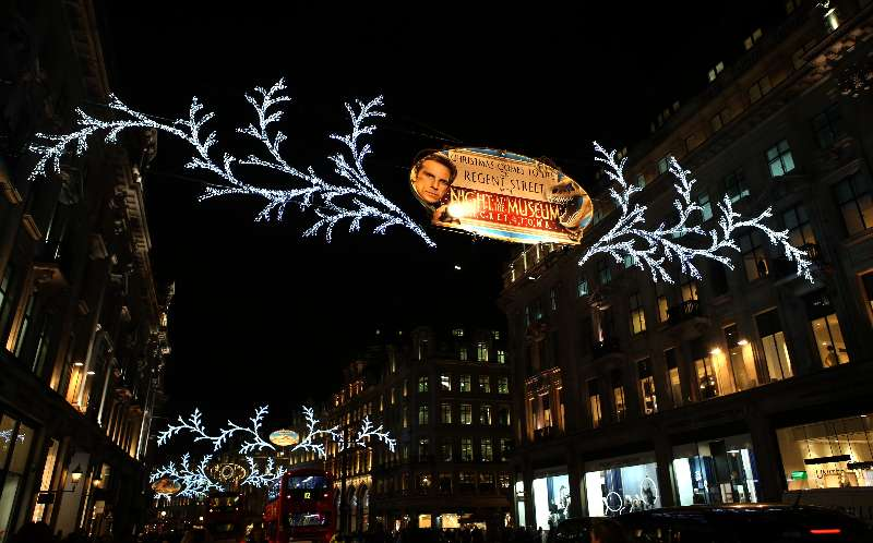 The Christmas illuminations of John Lewis at Oxford Street, in London, Britain