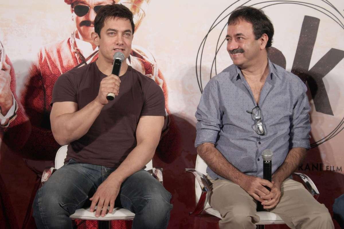 Noida: Actor Aamir Khan and filmmaker Rajkumar Hirani during a press conference ,in Noida on Nov. 8, 2014. (Photo: Amlan Paliwal/IANS)