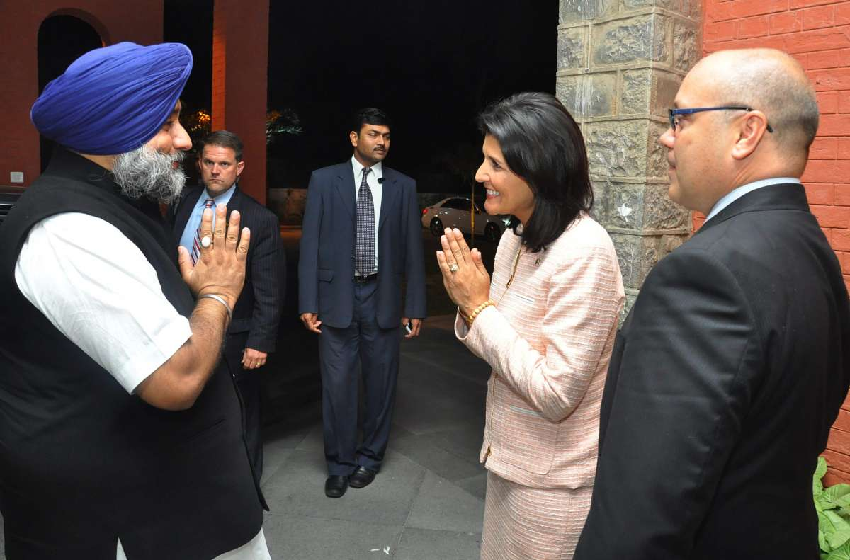 Punjab Deputy Chief Minister Sukhbir Singh Badal meets South Carolina (United States) Governor Nikki Haley in Chandigarh (File)