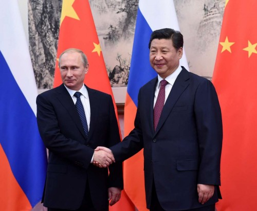 Chinese President Xi Jinping  meets with Russian President Vladimir Putin in Beijing, capital of China, Nov. 9, 2014.