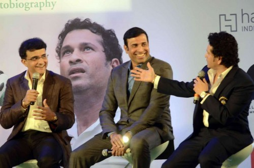 Former cricketers Saurav Ganguly, V. V. S. Laxman and Sachin Tendulkar at the launch Tendulkar's autobiography `Playing It My Way` in Mumbai, on Nov 5, 2014.