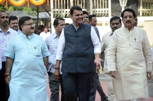 Mumbai: Maharashtra Chief Minister Devendra Fadnavis at Maharashtra Legislative Assembly in Mumbai, on Nov 11, 2014.