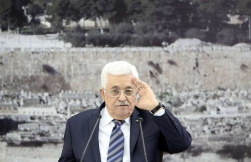 Palestinian President Mahmoud Abbas attends a meeting in the West Bank city of Ramallah