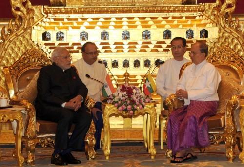 The Prime Minister, Shri Narendra Modi calling on the President of Myanmar, Mr. U. Thein Sein, at Nay Pyi Taw, Myanmar on November 11, 2014.