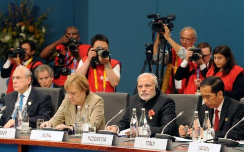 The Prime Minister, Shri Narendra Modi at the First Plenary Session of the G20 summit, in Brisbane, Australia on November 15, 2014.