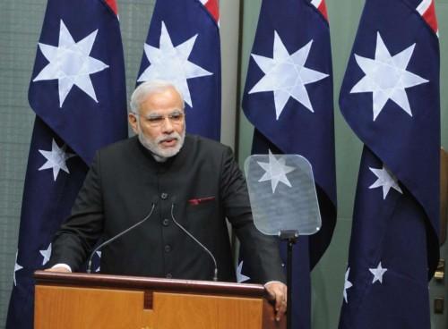 The Prime Minister, Shri Narendra Modi addressing the joint session of Parliament of Australia, at Parliament House, in Canberra, Australia on November 18, 2014.