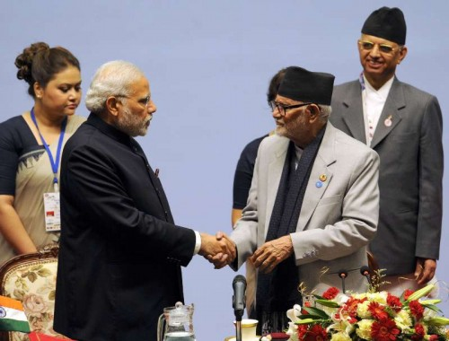 The Prime Minister, Shri Narendra Modi with the Prime Minister of Nepal, Shri Sushil Koirala at the inaugural session of the 18th SAARC Summit, in Kathmandu, Nepal, on November 26, 2014.