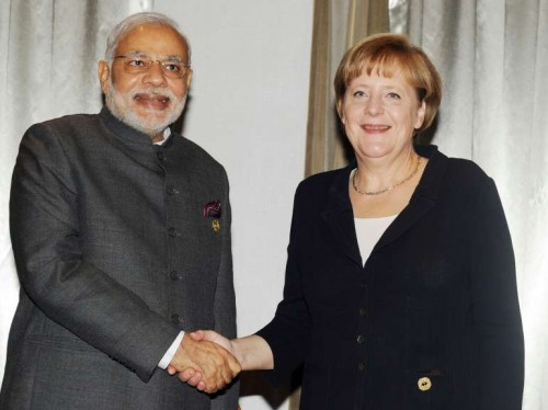 The Prime Minister, Shri Narendra Modi meeting the German Chancellor, Ms. Angela Merkel, in Brisbane, Australia on November 16, 2014.