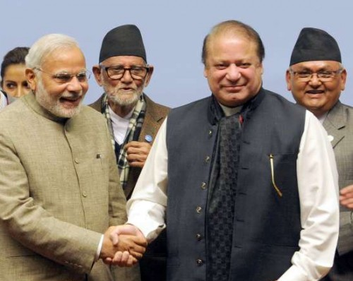 The Prime Minister, Shri Narendra Modi with the Prime Minister of Pakistan, Mr. Nawaz Sharif, at the 18th SAARC Summit, in Nepal on November 27, 2014.