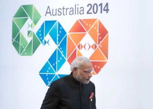 The Prime Minister, Shri Narendra Modi arriving for the official welcome at the G 20 summit, in Brisbane, Australia on November 15, 2014.